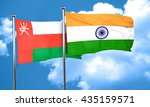oman flag with india flag  3d... | Shutterstock . vector #435159571