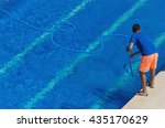 worker cleaning the swimming... | Shutterstock . vector #435170629