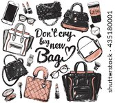hand drawn graphic bags... | Shutterstock .eps vector #435180001