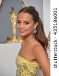 Small photo of LOS ANGELES, CA - FEBRUARY 28, 2016: Alicia Vikander at the 88th Academy Awards at the Dolby Theatre, Hollywood.