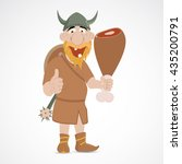 funny cartoon viking holding... | Shutterstock .eps vector #435200791
