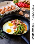 Fried Eggs With Asparagus  Ham...