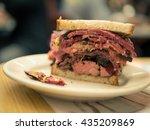 excessive pastrami sandwich | Shutterstock . vector #435209869