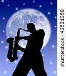 saxophone player silhouette in... | Shutterstock . vector #43521358