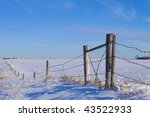 Fence Line On Canadian Prairie