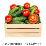 fresh ripe cucumbers in wooden... | Shutterstock . vector #435229444