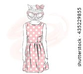 hipster cat in a dress. fashion ... | Shutterstock .eps vector #435229855