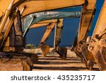 excavator parked at the site | Shutterstock . vector #435235717