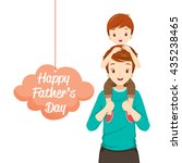 father carrying son on his... | Shutterstock .eps vector #435238465