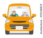 senior couple riding the orange ... | Shutterstock .eps vector #435238819