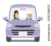 mom and son riding the purple... | Shutterstock .eps vector #435238825