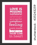 love quote. love is missing... | Shutterstock .eps vector #435243259