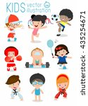 kids and sport  kids playing... | Shutterstock .eps vector #435254671