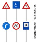 road signs set on a white... | Shutterstock .eps vector #435256045