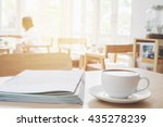 latte coffee art on the wooden... | Shutterstock . vector #435278239