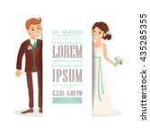 cute groom and bride cartoon... | Shutterstock .eps vector #435285355