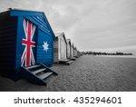 australia flag on a beach hut.... | Shutterstock . vector #435294601
