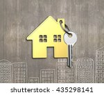 golden house with key on wooden ... | Shutterstock . vector #435298141