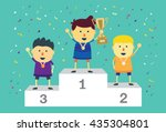 three ranking winner kids... | Shutterstock .eps vector #435304801