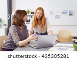 two female business colleagues... | Shutterstock . vector #435305281