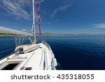 luxury yacht at sea race.... | Shutterstock . vector #435318055