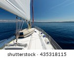 luxury yacht at sea race.... | Shutterstock . vector #435318115