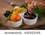 mix dried fruits  date palm... | Shutterstock . vector #435325195