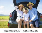 happy family enjoying road trip ... | Shutterstock . vector #435325255