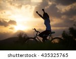 silhouette of a young girl on... | Shutterstock . vector #435325765