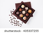 handmade chocolates in a square ... | Shutterstock . vector #435337255
