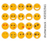 fuuny emoticon set on white... | Shutterstock .eps vector #435352561