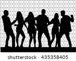 dancing people silhouettes. | Shutterstock .eps vector #435358405