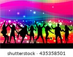 dancing people silhouettes.... | Shutterstock .eps vector #435358501