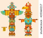 multi colored totem poles.... | Shutterstock .eps vector #435360217