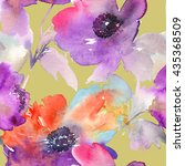 purple watercolor flowers.... | Shutterstock . vector #435368509