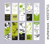 olive oil labels collection.... | Shutterstock .eps vector #435373711