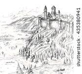 monochrome medieval castle on... | Shutterstock . vector #435380941