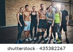 group of eight athletic young... | Shutterstock . vector #435382267