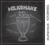 milkshake scetch on a black... | Shutterstock .eps vector #435384001