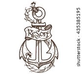 anchor logo  sketch of tattoo.... | Shutterstock .eps vector #435385195