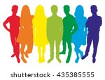 group of teenagers. vector... | Shutterstock .eps vector #435385555