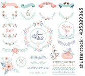 Rustic hand sketched wedding elements set. Floral doodles, leaves, branches, flowers, birds, laurels, banners and frames. Good for Save the Date cards, Wedding invitations and Thank You cards. | Shutterstock vector #435389365