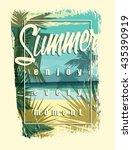 tropical beach summer print... | Shutterstock .eps vector #435390919