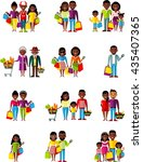 set of shopping concept african ... | Shutterstock .eps vector #435407365
