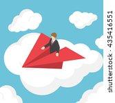 isometric businessman on paper... | Shutterstock .eps vector #435416551