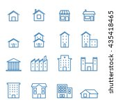house building line blue icon   ... | Shutterstock .eps vector #435418465