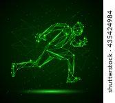 polygon mesh silhouette of... | Shutterstock .eps vector #435424984