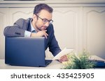 businessman at the desk in the... | Shutterstock . vector #435425905