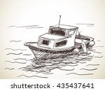sketch of boat  hand drawn...