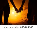 couples hands connecting... | Shutterstock . vector #435445645